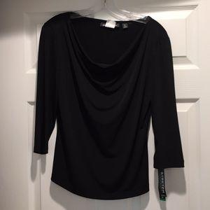 Black cowl neck blouse